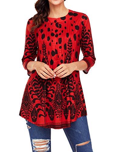 Hauts Rouge Manches Blouse 4 et T Col Mi Femmes Automne Tops Casual Chemisiers Fashion Imprime Shirts Shirts Tees Rond Longue 3 Printemps Tunique wXAqBxw
