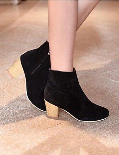 XZZ  Damenschuhe runde Kappe Blockabsatz Ankle Stiefel aus Leder