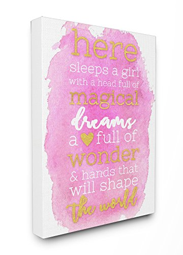Stupell Home D cor Here Sleeps a Girl Pink and Gold Typography Stretched Canvas Wall Art, 16 x 1.5 x 20, Proudly Made in USA