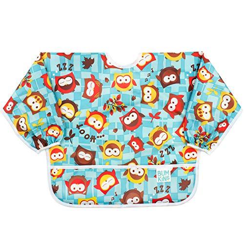 Bumkins  Sleeved Bib / Baby Bib / Toddler Bib / Smock, Waterproof, Washable, Stain and Odor Resistant, 6-24 Months  - Owls