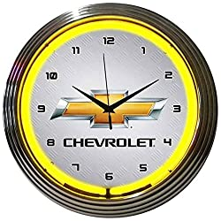 GM Chevrolet Yellow Electric Neon 15 Inch Wall Clock Glass Face Chrome Finish Warranty