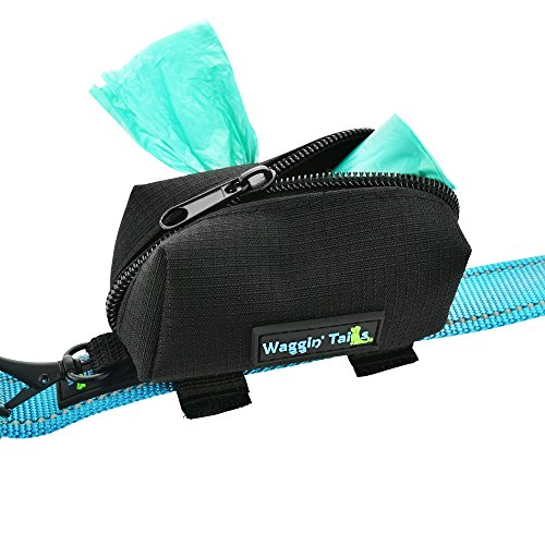 Waggin' Tails Dog Poop Bag Dispenser - Attaches Snuggly to Any Leash - No Dangle Waste Bag Holder - Black