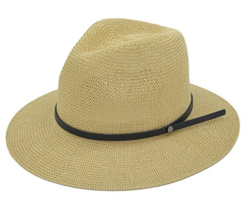 Melesh - Panama Fedora Top Hat for Womens Mens Summer Sun Straw Light Weight Breathable - Head Woman Big