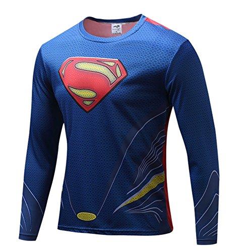 Cheap Hawkeye Costumes (HOCOOL Mens Halloween Costume Shirt Quick-Dry Slim Fit Running Tee(Blue) 2XL)