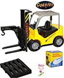 FUNTIVO Yellow Friction Powered Forklift Toy Truck Play Set Vehicle, Imagination Boy Gift, Battery Operated, 13''