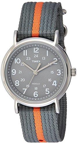 Timex Unisex T2N649 Weekender Gray/Orange Stripe Nylon Slip-Thru Strap Watch