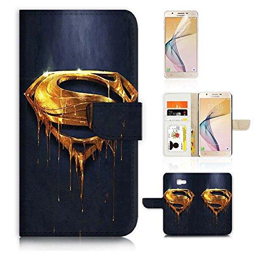 (For Samsung J7 Prime/J7 V/J7 Perx/J7 2017/J7 Sky Pro/Galaxy Halo) Flip Wallet Case Cover & Screen Protector Bundle - A20093 Superman]()