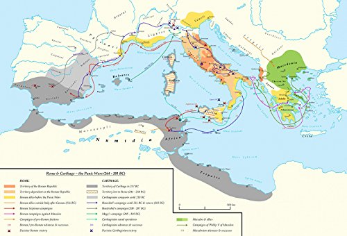 LAMINATED POSTER Map of Rome&Carthage - The Punic Wars  POST