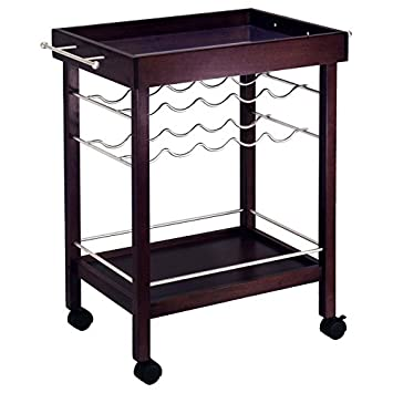 Kitchen Bar Serving Cart on 4 Caster Wheels Lower Shelf Storage w Rack to Hold Alcohol up to 10 Bottles of Wine