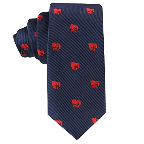 Boxing Fan Boxer Skinny Tie Mens Necktie | Boxing Gloves | Work Ties for Him | Birthday Gift for Guys (Boxing)
