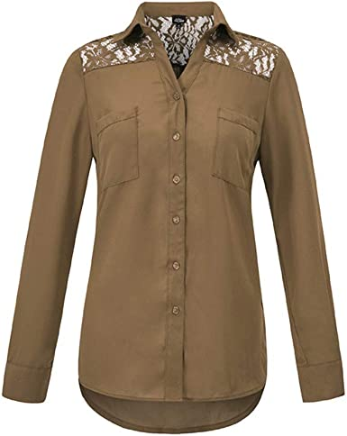 SXZG Camisa de Gasa con Corte Superior de Encaje de Color ...