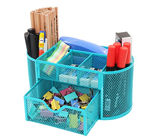 PAG Office Supplies Mesh Desk Organizer Desktop Pencil Holder Accessories Caddy with Drawer, 9 Compartments, Blue (Supplies Turquoise Office)