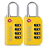 TSA Luggage Locks (2 Pack) - 4 Digit Combination Steel Padlocks - Approved Travel Lock For Suitcases & Baggage (YELLOW 2 PACK)