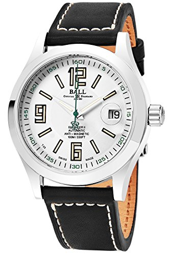 Ball Engineer II Arabic 40mm White Face Swiss Automatic Mens Date Black Leather Watch NM1020C-L4-WH