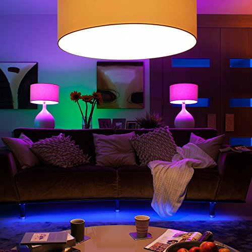 Philips 456194 Hue White and Color Ambiance Starter Kit, 4 A19 Bulbs and 1 Bridge, (2nd Generation), Compatible with Alexa and Apple Homekit (Renewed) by Philips (Image #2)