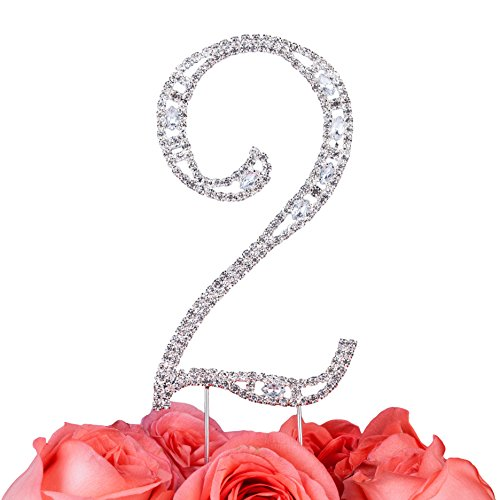 LOVENJOY with Gift Box Super Bling Number 2 2nd Happy Birthday Wedding Anniversary Crystal Rhinestone Cake Decoration Topper Silver (2.8-inch)