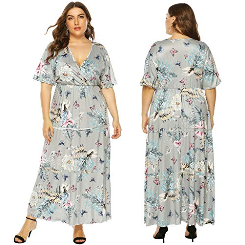 Zlolia Women's Plus Size Printed Maxi Dresses Ruffled Deep V Plunge Short Sleeve High Waist Bohemian Dress(L-4XL)
