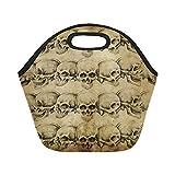 Feddiy Vintage Mexican Skulls Insulated Lunch Tote Bag Reusable Neoprene Cooler, Tattoo Art Skeleton Head Portable Lunchbox Handbag for Men Women Adult Kids Boys Girls