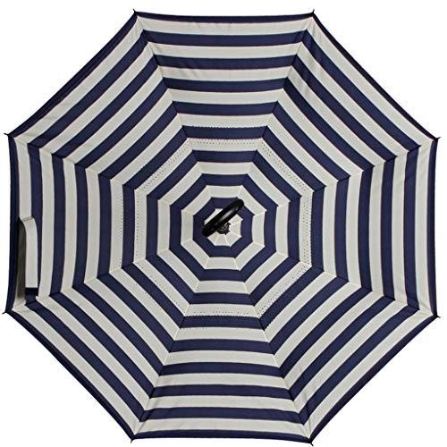 Reinforced Fiberglass Ribs - Korowa 8 Ribs Reverse Upside Down Inside Out Windproof UV Protection Folding Umbrella with C-Shaped Handle
