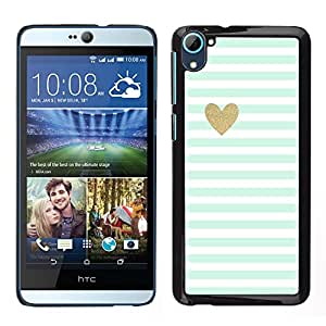 HTC Desire 826 dual Único Patrón Plástico Duro Fundas Cover Cubre Hard Case Cover - Blue White Baby Stripes Pattern Heart