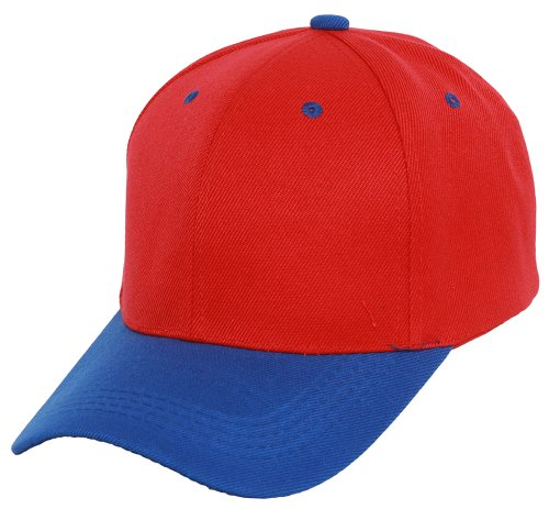 TOP HEADWEAR Two-Tone Low Profile Adjustable Baseball Cap, Red Royal Blue