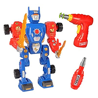 Take-A-Part Transform Robot Building Kit Construction Toy with 31 Take Apart Pieces, Power Drill, Lights & Sound