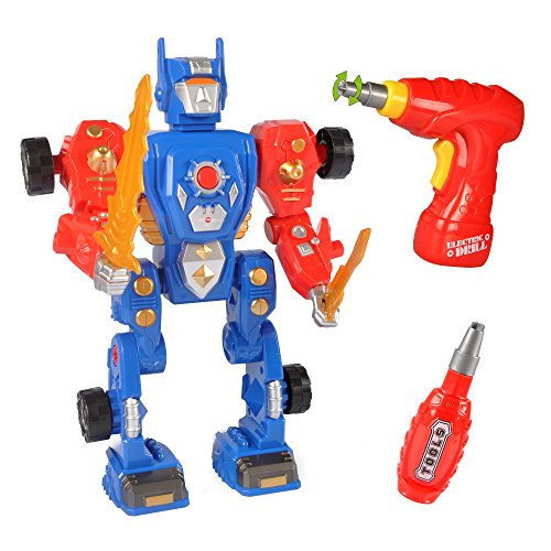 Take-A-Part Transform Robot Building Kit Construction Toy with 31 Take Apart Pieces, Power Drill, Lights & Sound ()