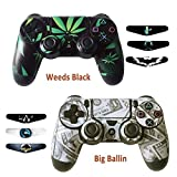 Skins for PS4 Controller – Decals for Playstation 4 Games – Stickers Cover for PS4 Slim Sony Play Station Four Controllers Pro PS4 Accessories PS4 Remote Wireless Dualshock 4 – Ballin Weed 6 Light Bar Review