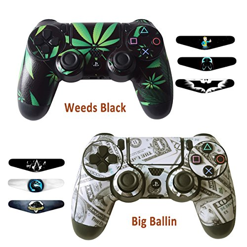 Skins for PS4 Controller - Decals for Playstation 4 Games - Stickers Cover for PS4 Slim Sony Play Station Four Controllers Pro PS4 Accessories PS4 Remote Wireless Dualshock 4 - Ballin Weed 6 Light Bar