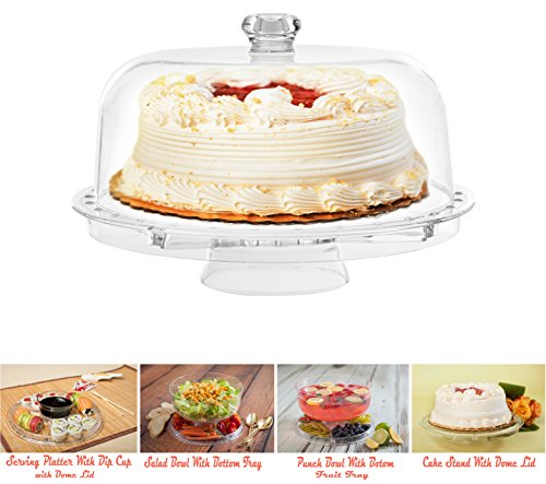 Amazing Cake Stand with Dome by Adorn home | Multifunctional Cake and Salad Server with 5 Compartment Tray or Center Dip Bowl | 6 Uses -