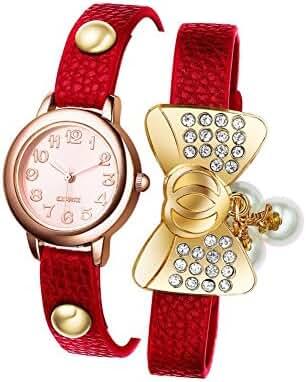 WYDO A03 Newest Fashion Bowknot Gold Bracelet Wrist Watch Jewelry Bangle Gift for Women Girls