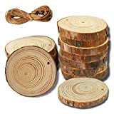 12 PCS Natural Unfinished Wood Slices Predrilled 2.8-3.8 Inches - Bark Log Circles Bride & Baby Shower Decoration Gift Round,Wedding Party Circles Ornaments with 16 Ft Jute Twine DIY Crafts