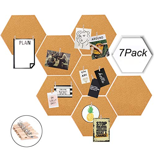 Moi Doi Wall Decor,Bulletin Board, Pin Board, Cork Tiles,Hexagon Cork Board with Adhesive Backing Memo Boards Message Board for Office/Home/Kitchen/Dorm Room,7 Pack +30 PINS -