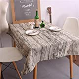 GBSELL Vintage Rustic Rectangle Linen Wood Grain Print Tablecloth Washable Table Cover (140180cm)