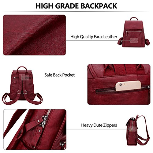 Bungundy Girls women VONXURY Daypack purse for Backpack Leather for Faux qUwz880E