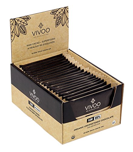 Gluten Free Soy Free (VIVOO Organic Raw Chocolate Bars | Dark Absolute 100% Cacao | No Added Sugar | Dairy-Free, Soy-Free, Gluten-Free | Non-GMO, Vegan, Kosher | Nutrient-rich | Box of 20 pieces x 30g each)