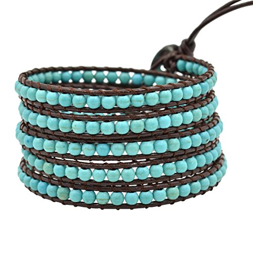 Real Spark(TM) Women Men Turquoise Beaded 5 Wrap Multilayer Bangle Cuff Rope Leather (Easy Diy Goddess Costume)