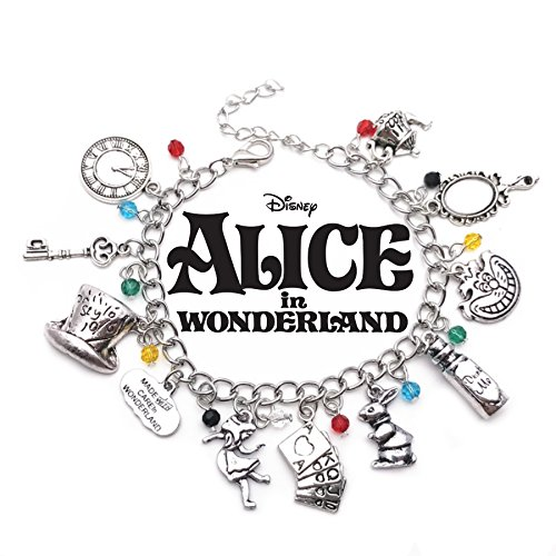 Alice in Wonderland Theme Silvertone Metal Charm (Dog Theme Charm Bracelet)