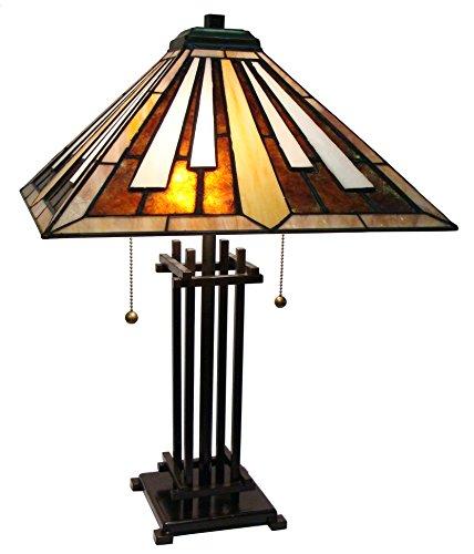 Fine Art Lighting M1682 116 Glass Cuts Mission Style Tiffany Table Lamp, 16 x 23