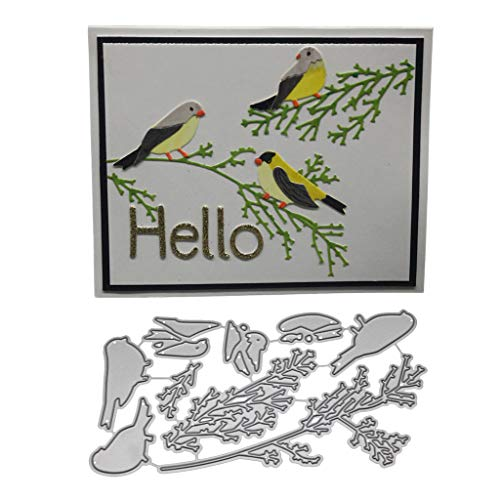 Hukai Branch Bird Metal Cutting Dies Stencil DIY Scrapbooking Album Stamp Paper Card Embossing Crafts Decor,Good Gift for Your Kids to Cultivate Their Hands-on Ability