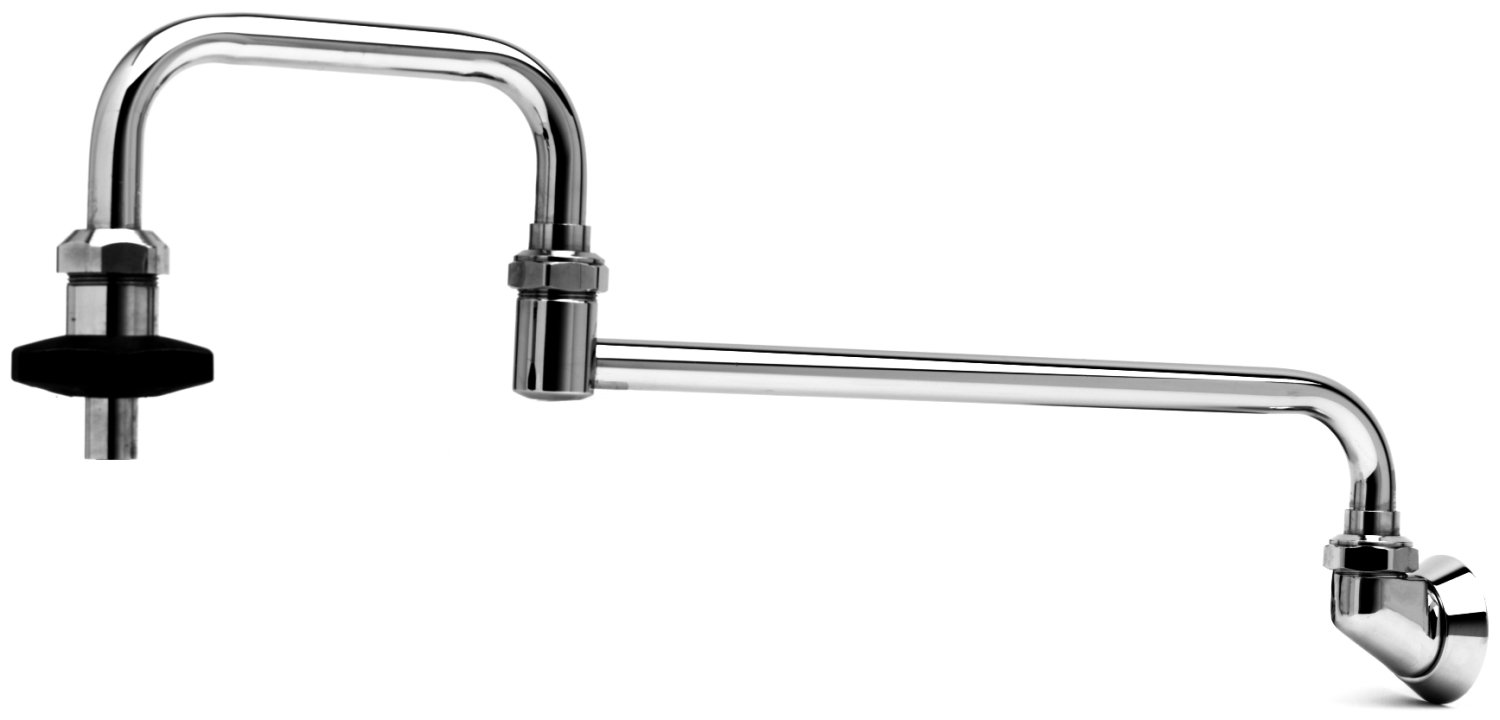 T&S Brass B-0581 Pot Filler with Wall Mount, 24-Inch Double Joint Nozzle, 1/2-Inch Npt Inlet and Insulated On-Off Control