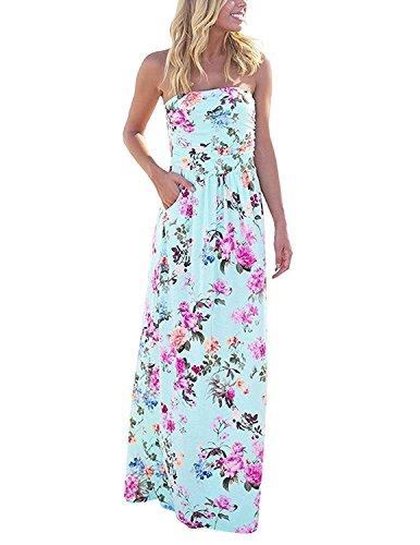 carinacoco Mujeres Vestidos Verano Largo de Envuelto Pecho con Florales Impresa Vestido Coctel Fiesta Noche y Playa Vacation A Color 1