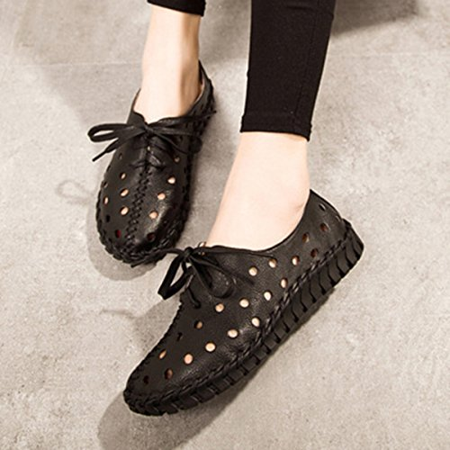 Socofy Leather Soft Shoes, Women's Fashion Hollow Breathable Stitching Lace Up Flat Casual Outdoor Shoes Black