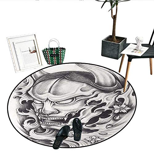 Kabuki Mask Print Area Rug Hand Drawn Style Malevolent Face Vicious Evil Monster with Blossoms Image Living Dinning Room and Bedroom Rugs (43