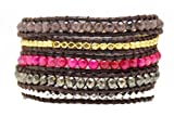 Brown Fuschsia Mix Metal Nuggets Wrap Bracelet Handmade Woven Leather 5 Multilayer 4 mm Beads Boho Style