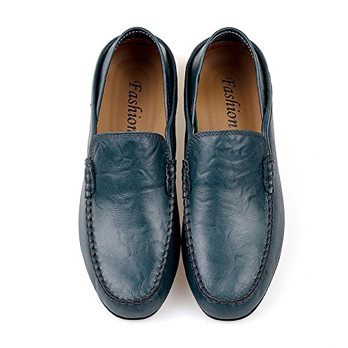 Flat Slippers Fleece Leather Loafers Men's fereshte Cowhide Blue Winter Shoes for Breathable Casual Business Driving tXzwxPq