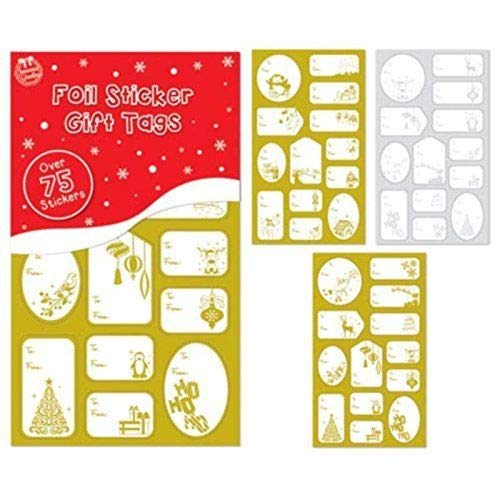 75 Foil Sticker Present Xmas Tags Labels Gold and Silver