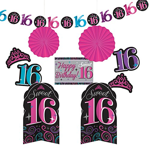 Amscan, Sweet 16 Birthday Celebration Room Decorating Kit Party Decoration, 10 Piece, Multi Color