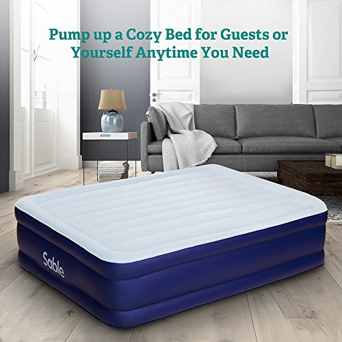 Sable Queen Size Air Mattress with Built-in Electric Pump, Raised Blow up Air Bed with a Storage Bag, Height 18''