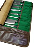 Professional Chef Bag Lightweight Genuine Premium CRUNCH BROWN LEATHER 9 Pockets Knife Bag/Chef Knife Roll #012